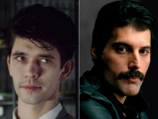 Ben Whishaw em cena da série 'The hour' e Freddie Mercury, do Queen (Foto: Divulgação)